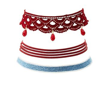 Crochet, Denim & Faux Suede Choker Necklaces - 3 Pack