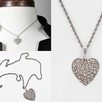 Vintage Otis Sterling Silver and Pave Rhinestone Heart Pendant Necklace, Late Art Deco, Domed, Twisted Rope Chain, Dazzling! #c267
