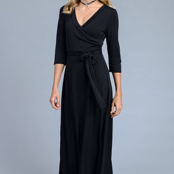 Solid 3/4 Maxi Dress - Black