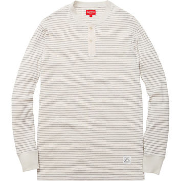 Supreme: Pinstripe Thermal Henley - White