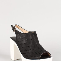 Perforated Leatherette Stars And Circles Slingback Lug Sole Heel Color: Black, Size: 9