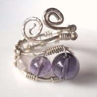 Amethyst,Fluorite,Rose Quartz Wrapped Hammered Silver Wire Ring