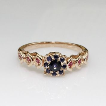 Natural Blue Sapphire Ruby Gemstone Halo Vintage Filigree Accents 14k Rose Gold Wedding Band Ring (CFXR0006A)