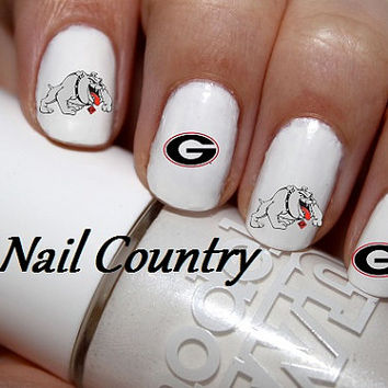 50pc Georgia Bulldogs Football Nail Decals Nail Art Nail Stickers Best Price On Etsy NC199