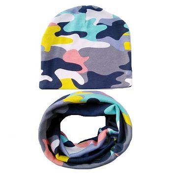 Baby Hat Nice Camo Print Cotton Children Hat Scarf Collar Autumn Winter Baby Cap Kids Boys Girls Beanies Infant Toddler Hats Set