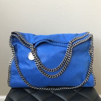 Stella McCartney Medium Bright Blue Falabella Shaggy Deer Fold Over Tote
