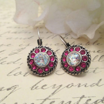 Swarovski DECORATED DAISY EARRING, flower earring, designer inspired, white patina, fuscia, 12mm, round, antique silver