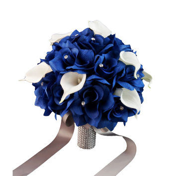 17PC Royal Blue white Rose baby breath wedding silk flower arrangement