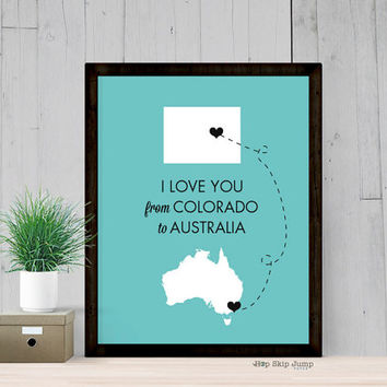 Personalized Long Distance Love Map Art - Colorado to Australia - Travel Journey Poster