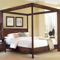 King Size Wood Canopy Bed in Classic Mocha Finish