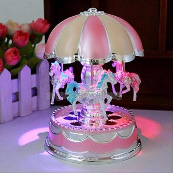 Plastic Carousel Music Box with Flash Light Children Kids Birthday Christmas Gift Bedroom Home Decor