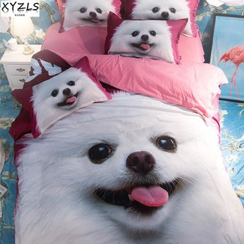 XYZLS US/UK/AU Size Cute Pomeranian Queen Size Bedding Set Home Dog Bed Linings Full King Size Bedclothes Cute Pet Bedding Kit