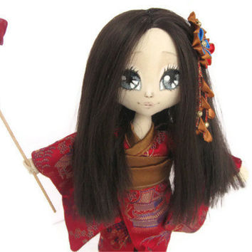 OOAK Akiko Japan Art Cloth Doll  Collectible - Textile, Fiber
