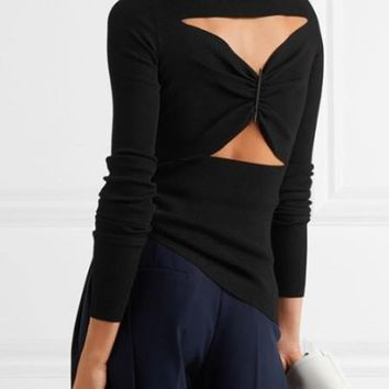 Black High Neck Twist Back Long Sleeve Knit Sweater