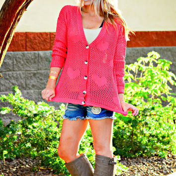 CROSS MY HEART KNIT BUTTON UP SWEATER IN CORAL