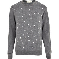 River Island MensDark grey burnout star print sweatshirt