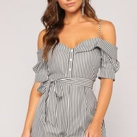 Find Your Groove Stripe Romper - Black/White