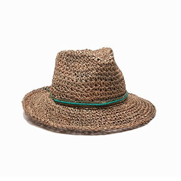 'ale by alessandra Women's Trancoso Crochet Hat with Beaded Adjustable Headsize, Natural/Sea Green, One Size