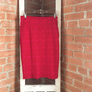 LuLaRoe Cassie Skirt, Contempo Houndstooth, Red Pink