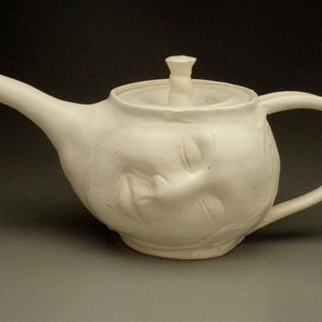 Dreaming Teapot Face Sculpture White Porcelain by AdrienArt