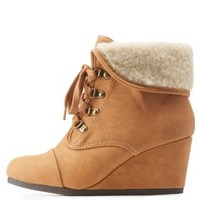 Tan Shearling-Cuffed Wedge Booties by Charlotte Russe