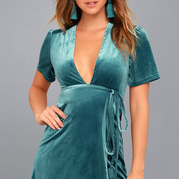 Lush For Life Teal Blue Velvet Wrap Dress