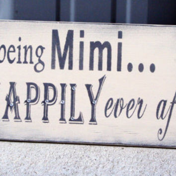 Mimi Sign Grandma Sign Nana Sign Custom Sign Personalized Sign Shabby Chic Cottage Chic Rustic Vintage Wallhanging Cream Gray