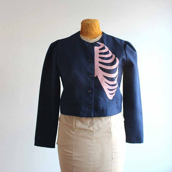 cropped ribcage blazer - vintage navy blue jacket with applique pink rib cage - women's medium upcycled clothing