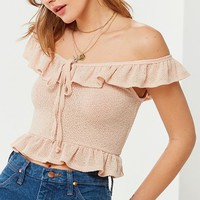 UO Tie-Front Ruffle Knit Tank Top | Urban Outfitters