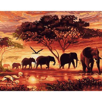 """CHENISTORY"" Sunset Elephants Animals DIY Painting By Numbers Modern Wall Art Hand Painted"
