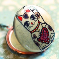 Locket Necklace Lucky Love Cat Prosperity by birdsoforegon on Etsy