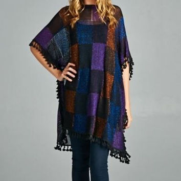 Velzera Bohemian Hippie Chick Checkered Poncho -Black/Purple Multi