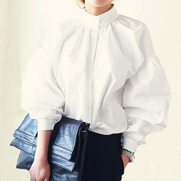 Women Lantern Sleeve Blouse 2017 Ladies Fashion Long Cotton Tops Female Vintage Oversize Loose Stand Collar Puff White Shirts