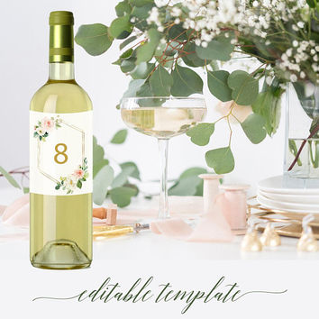 Printable wine bottle labels, Wedding wine bottle table number labels, Personalized wine bottle label seating chart template Greenery floral
