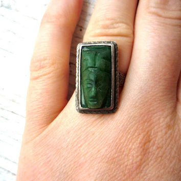 Rare 1910 Engraved Sterling Silver & Jade Mayan Face Ring 6