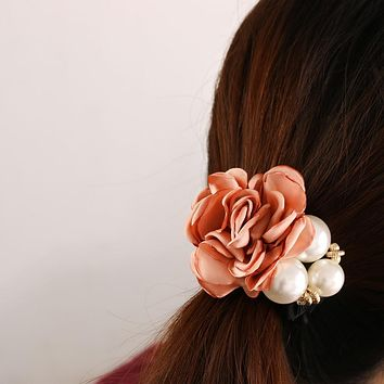 1 PC Women Lady Satin Ribbon Big Rose Flower Pearls Hairband Floral Decor Elastic Ponytail Holder Hair Band Accessories