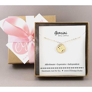 Gemini Zodiac Necklace - Constellation Necklace - Gold Fill Necklace - Simple Jewelry - Astrology Necklace - Gold Jewelry - Gift for Her