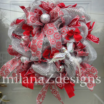 Silver and Red  Christmas Wreath, Whimsical Christmas Deco Mesh, Holiday Door Decorations, Sparkly and Glamorous Winter Decor