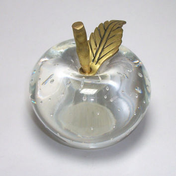 Vintage Glass Apple Paperweight Brass Leaf & Stem - Controlled Bubbles Clear Blown Glass Apple Paper Weight