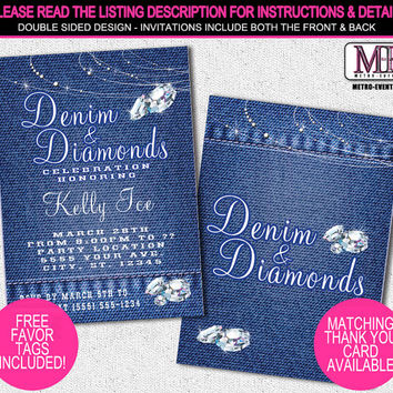 Denim and Diamonds Party Invitations, Printable Invitation