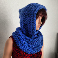 Crochet Hooded Neckwarmer. Scoodie. Women's Winter Fashion Accessory. Free US shipping