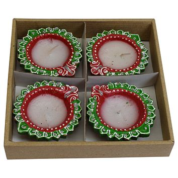 Handmade Decorative Clay Diya Set of 4 Diwali Indian Festival Celebration Puja Earthen Oil Lamp