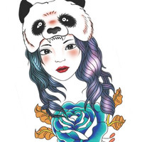 Panda Beautiful Girl Tattoos Waterproof Rose Stickers