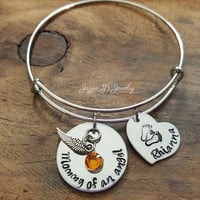 Mommy Of An Angel Bangle, Remembrance Bangle, Memorial Bangle, Infant Loss Bracelet, Hand Stamped Memory Bangle