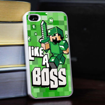 Cute Minecraft like a boss iPhone 5S case,iphone 5 case,iphone 4 case,iphone 4S case,iPhone 5C case,Samsung s3 case,samsung s4 case