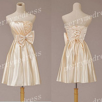 Princess 2014 Champagne Strapless Bowknot Lace-up Short Flower Bridesmaid Dress,Taffeta Formal Evening Party Prom Dress New Homecoming Dress