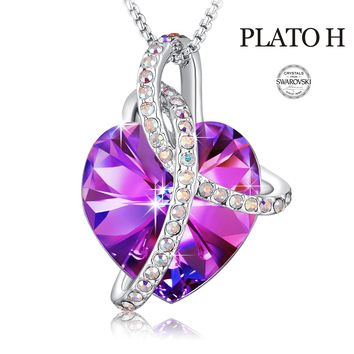 """""""Courageous Heart"""" Love Heart Fashion Pendant Necklace PLATO H Noble Heart Pendant Necklace Heart Shape Necklace With Swarovski Crystals Fashion Jewelry for Women, 18"""""""