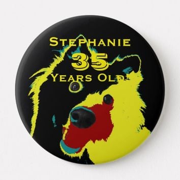 35 Years Old, Happy Yellow Dog Button Pin