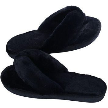 DCCK3SY Women's Soft Spa Thong Slippers Plush Indoor Clog Flip Flops House Slipper