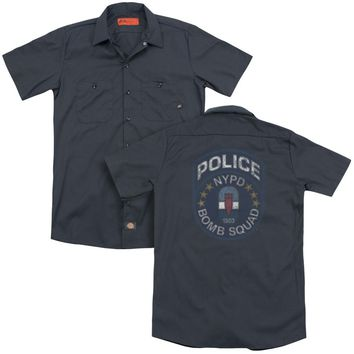 NYPD Dickies Work Shirt Police Bomb Squad Charcoal Button Up